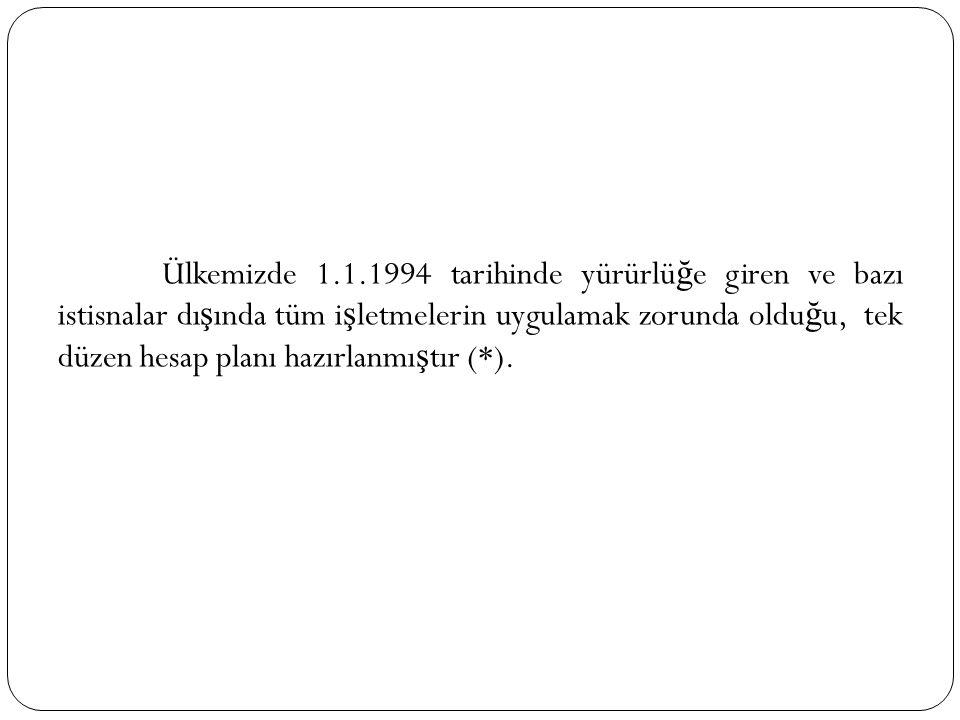 Ülkemizde 1.1.1994 tarihinde yürürlü ğ e giren ve bazı istisnalar dı ş ında tüm i ş letmelerin uygulamak zorunda oldu ğ u, tek düzen hesap planı hazır