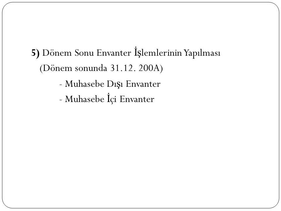 5) Dönem Sonu Envanter İş lemlerinin Yapılması (Dönem sonunda 31.12. 200A) - Muhasebe Dı ş ı Envanter - Muhasebe İ çi Envanter