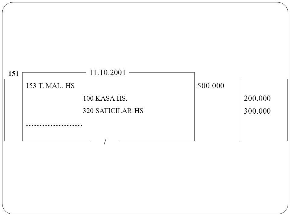 151 11.10.2001 153 T. MAL. HS 500.000 100 KASA HS. 200.000 320 SATICILAR HS 300.000 ………………… /