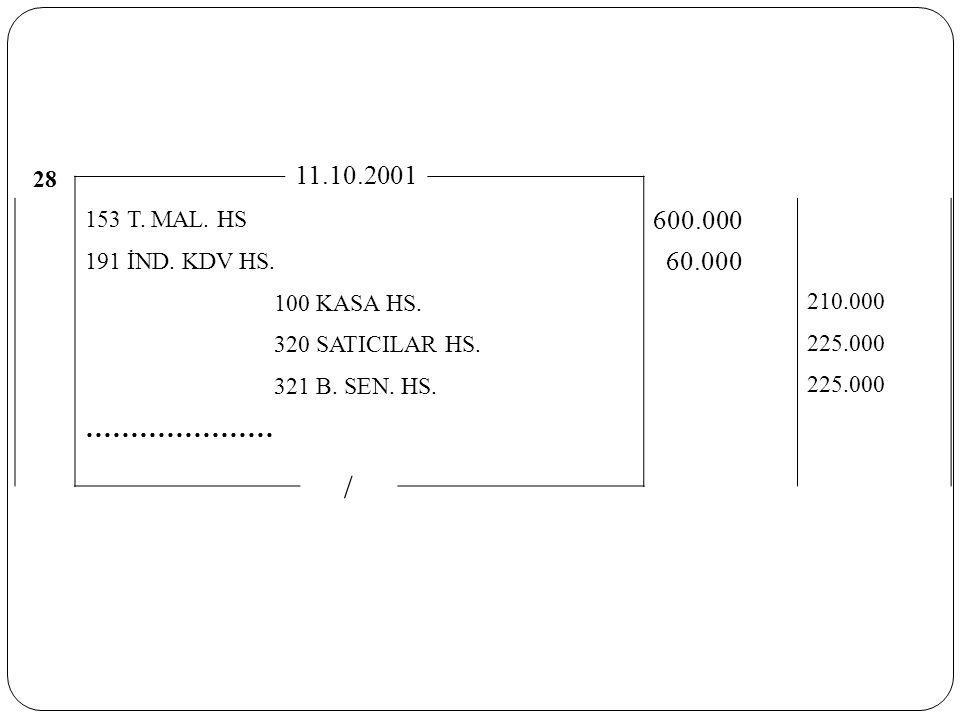 28 11.10.2001 153 T. MAL. HS 600.000 191 İND. KDV HS. 60.000 100 KASA HS. 210.000 320 SATICILAR HS. 225.000 321 B. SEN. HS. 225.000 ………………… /