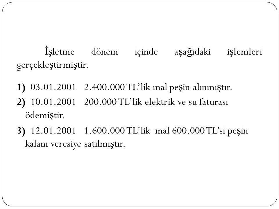 İş letme dönem içinde a ş a ğ ıdaki i ş lemleri gerçekle ş tirmi ş tir. 1) 03.01.2001 2.400.000 TL'lik mal pe ş in alınmı ş tır. 2) 10.01.2001 200.000