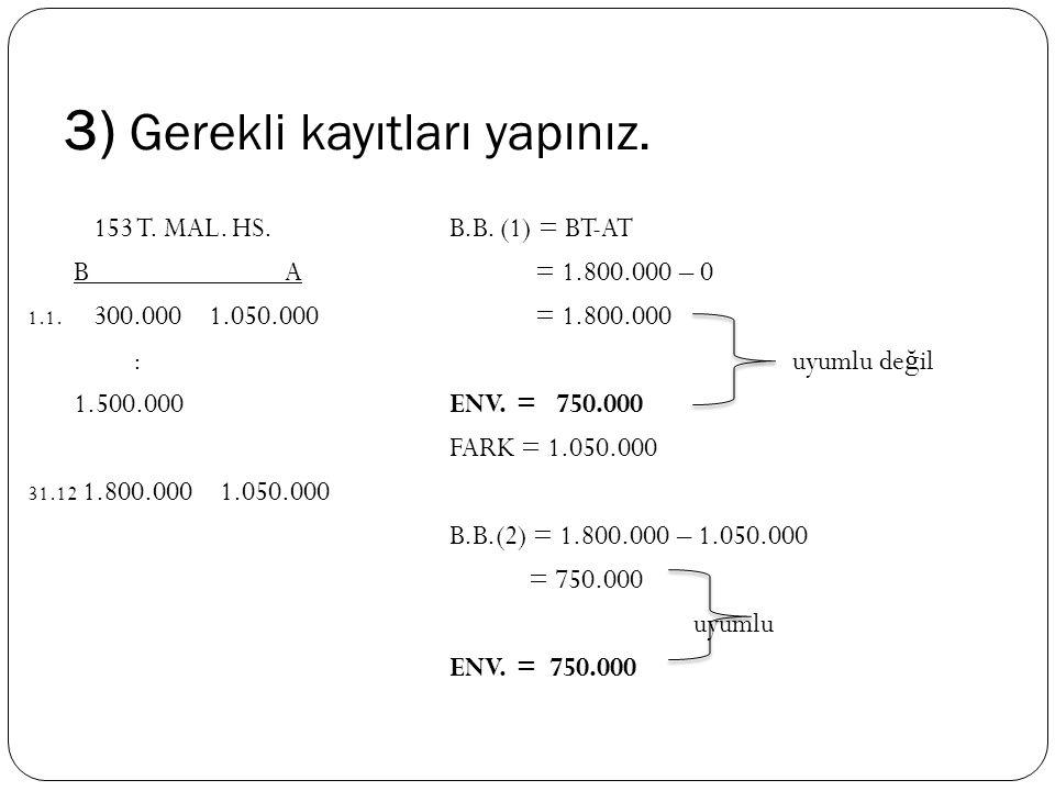 3) Gerekli kayıtları yapınız. 153 T. MAL. HS.B.B. (1) = BT-AT B A = 1.800.000 – 0 1.1. 300.000 1.050.000 = 1.800.000 : uyumlu de ğ il 1.500.000ENV. =