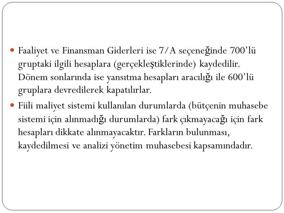 Faaliyet ve Finansman Giderleri ise 7/A seçene ğ inde 700'lü gruptaki ilgili hesaplara (gerçekle ş tiklerinde) kaydedilir. Dönem sonlarında ise yansıt