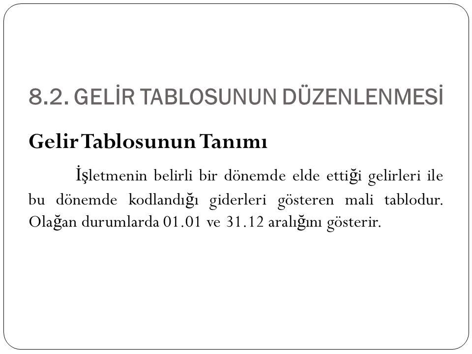 8.2. GELİR TABLOSUNUN DÜZENLENMESİ Gelir Tablosunun Tanımı İş letmenin belirli bir dönemde elde etti ğ i gelirleri ile bu dönemde kodlandı ğ ı giderle
