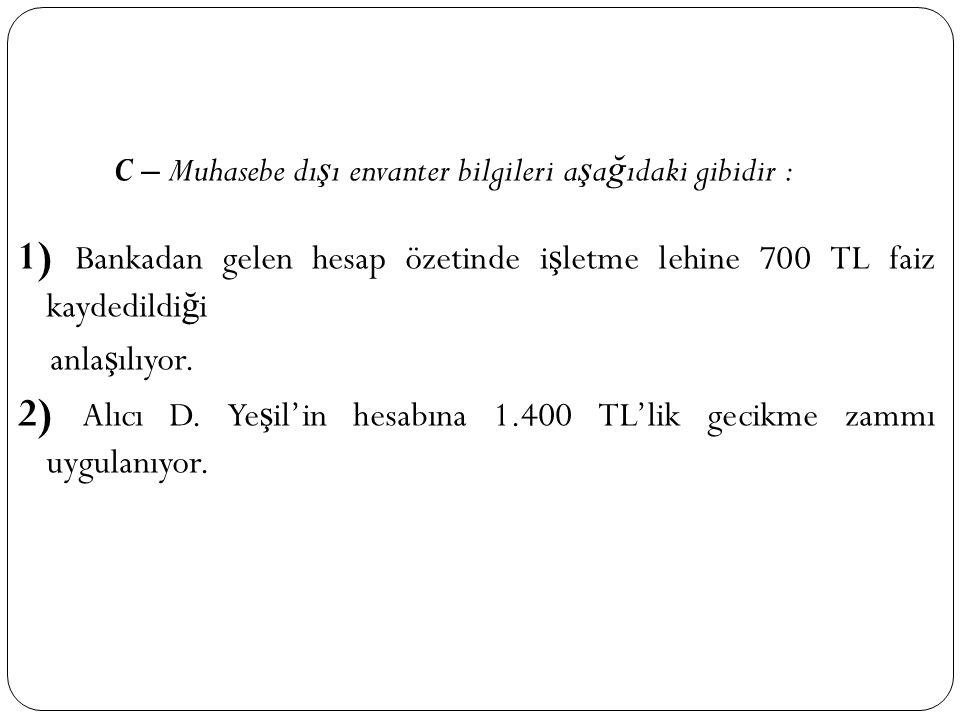 C – Muhasebe dı ş ı envanter bilgileri a ş a ğ ıdaki gibidir : 1) Bankadan gelen hesap özetinde i ş letme lehine 700 TL faiz kaydedildi ğ i anla ş ılı
