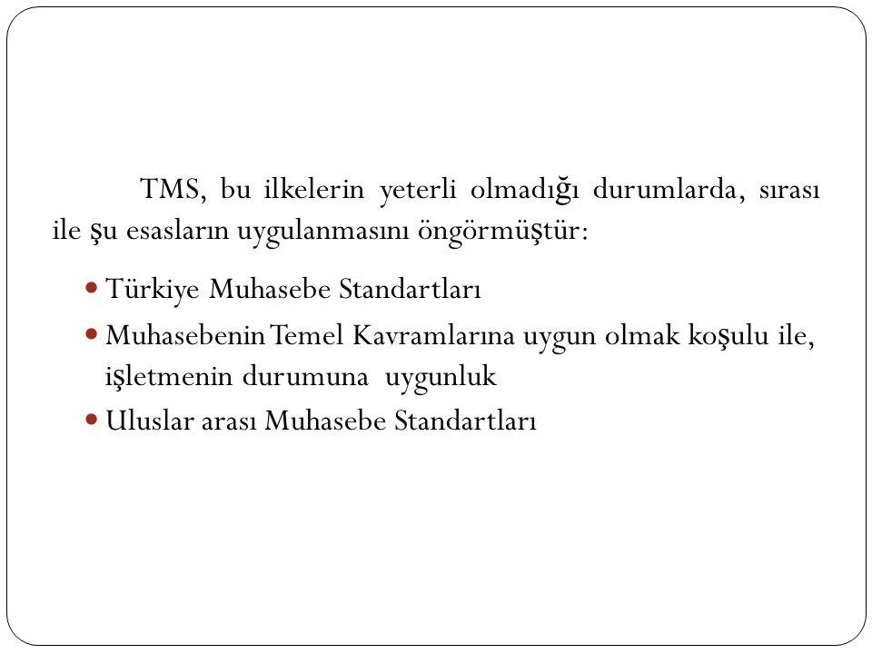 TMS, bu ilkelerin yeterli olmadı ğ ı durumlarda, sırası ile ş u esasların uygulanmasını öngörmü ş tür: Türkiye Muhasebe Standartları Muhasebenin Temel