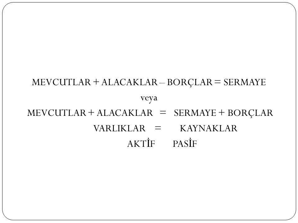 MEVCUTLAR + ALACAKLAR – BORÇLAR = SERMAYE veya MEVCUTLAR + ALACAKLAR = SERMAYE + BORÇLAR VARLIKLAR =KAYNAKLAR AKT İ F PAS İ F