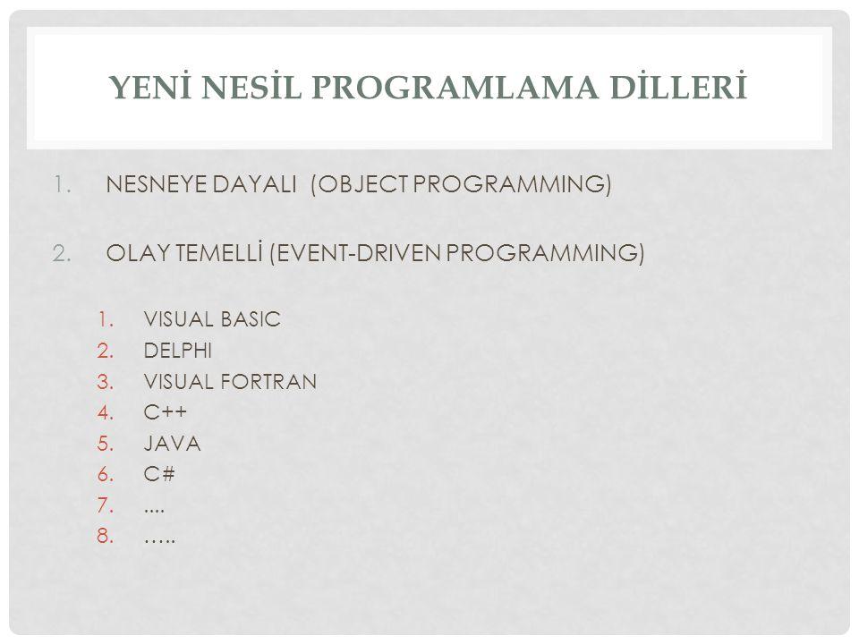 YENİ NESİL PROGRAMLAMA DİLLERİ 1.NESNEYE DAYALI (OBJECT PROGRAMMING) 2.OLAY TEMELLİ (EVENT-DRIVEN PROGRAMMING) 1.VISUAL BASIC 2.DELPHI 3.VISUAL FORTRAN 4.C++ 5.JAVA 6.C# 7.....