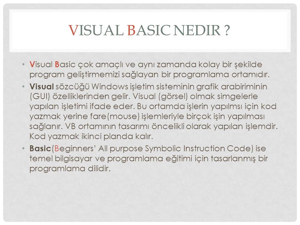 VISUAL BASIC NEDIR .