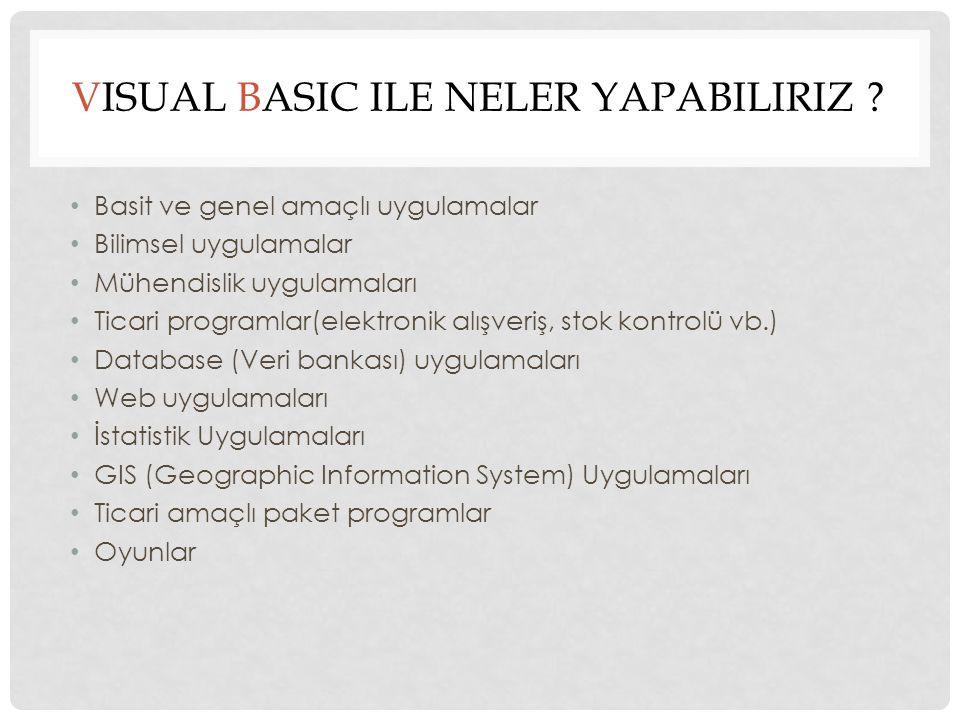 VISUAL BASIC ILE NELER YAPABILIRIZ .