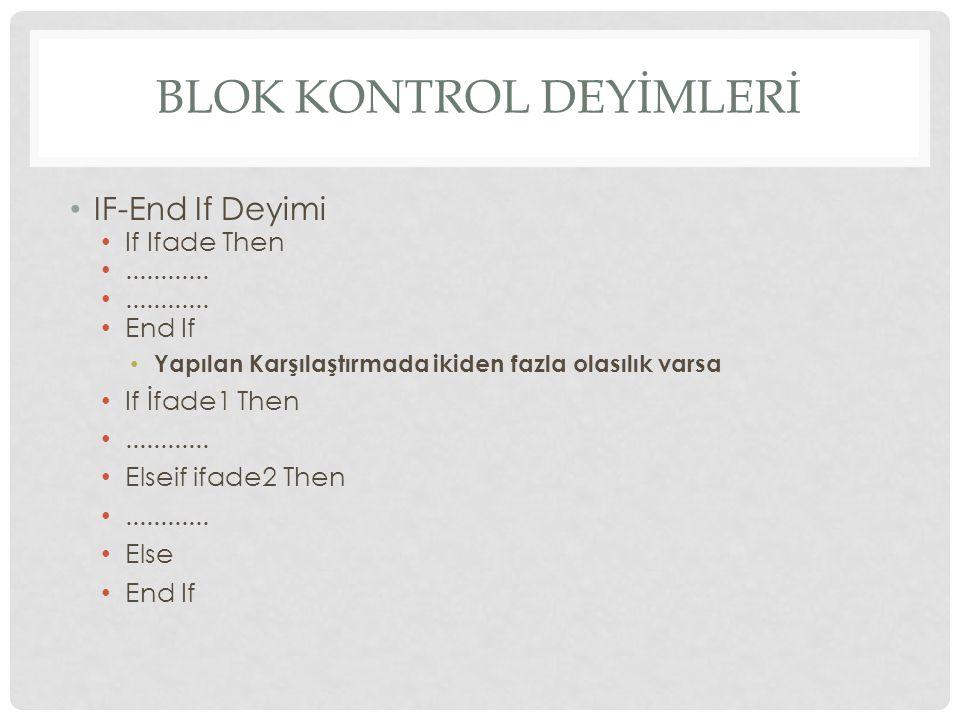 BLOK KONTROL DEYİMLERİ IF-End If Deyimi If Ifade Then............
