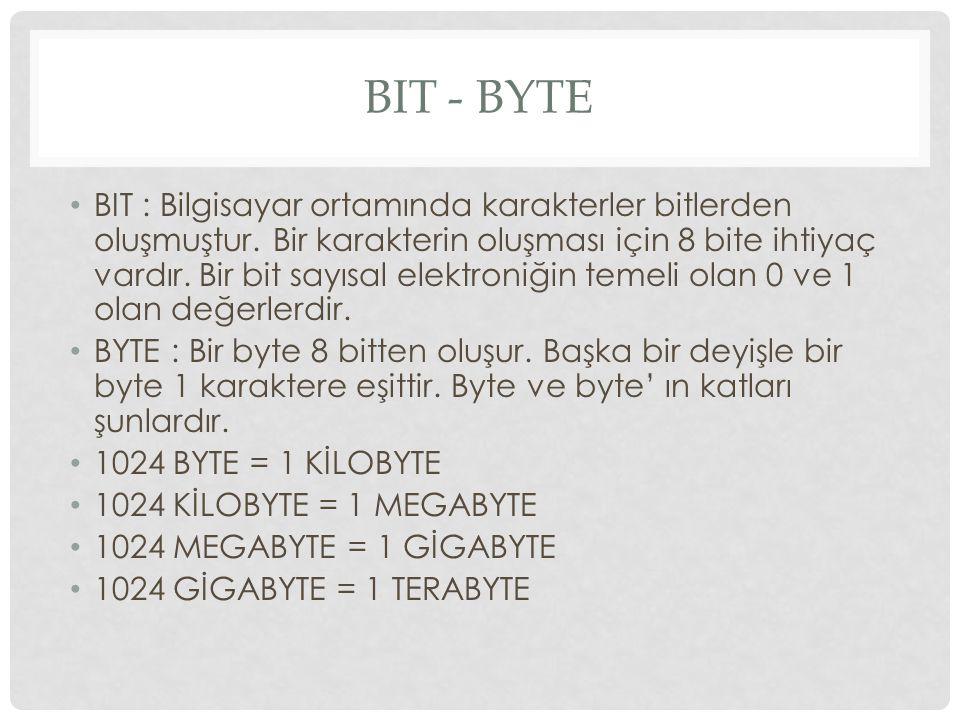 BIT - BYTE BIT : Bilgisayar ortamında karakterler bitlerden oluşmuştur.