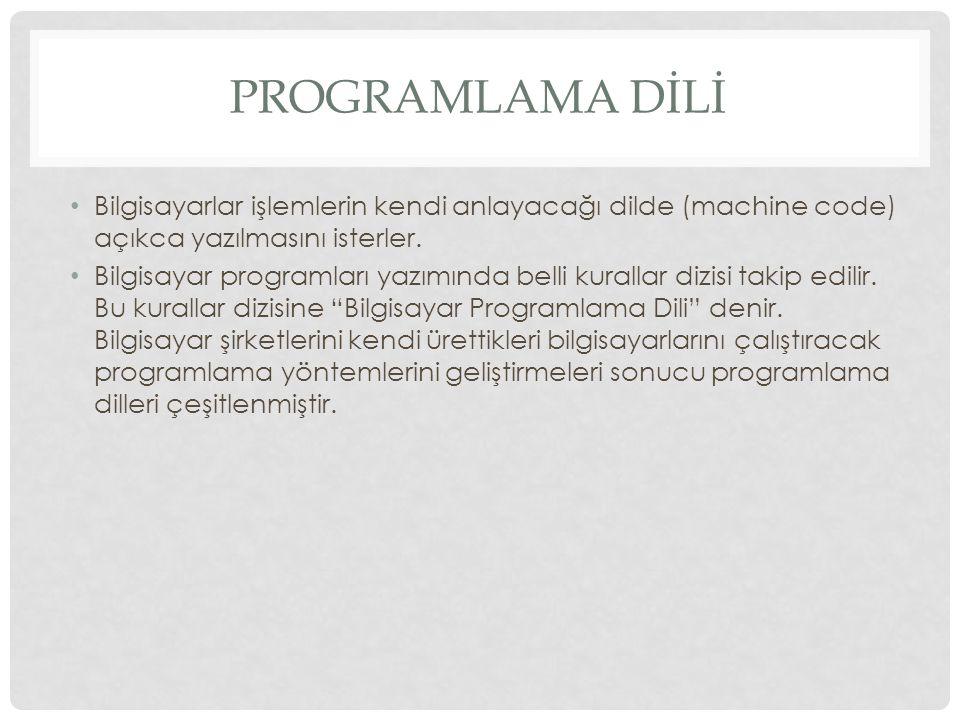 PROGRAMLAMA DİLLERİ 1.Makina Dili (Machine Language) 2.Sembolik Diller (Symbolic Language) 1.Alt Düzey 2.Üst Düzey