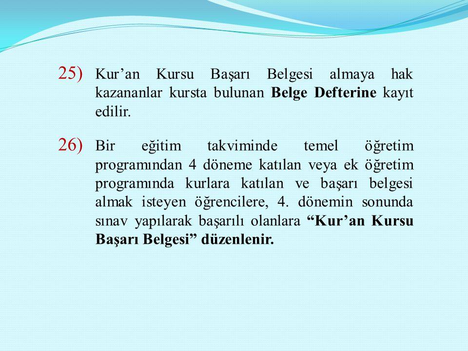 25) Kur'an Kursu Başarı Belgesi almaya hak kazananlar kursta bulunan Belge Defterine kayıt edilir. 26) Bir eğitim takviminde temel öğretim programında