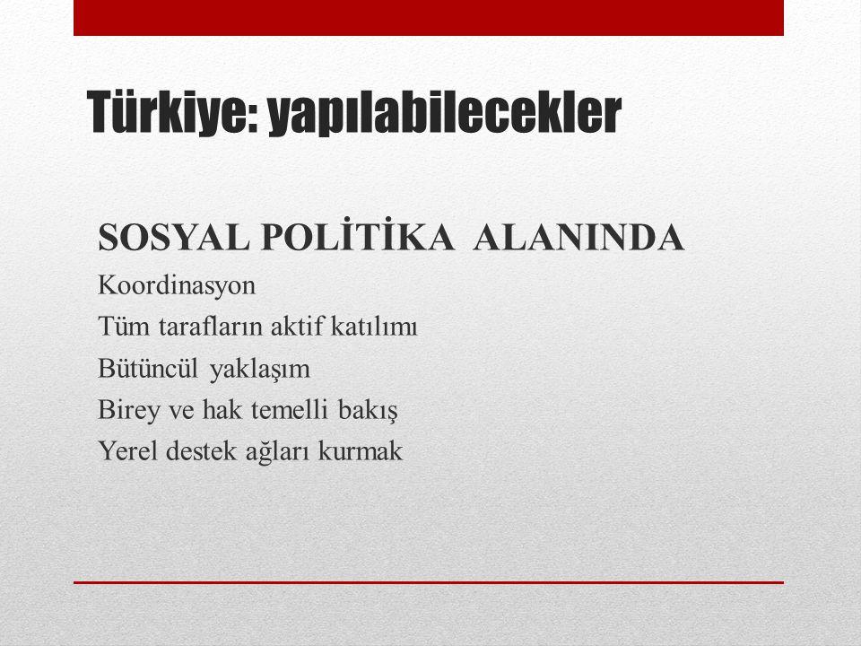 Türkiye: yapılabilecekler SOSYAL POLİTİKA ALANINDA Koordinasyon Tüm tarafların aktif katılımı Bütüncül yaklaşım Birey ve hak temelli bakış Yerel deste