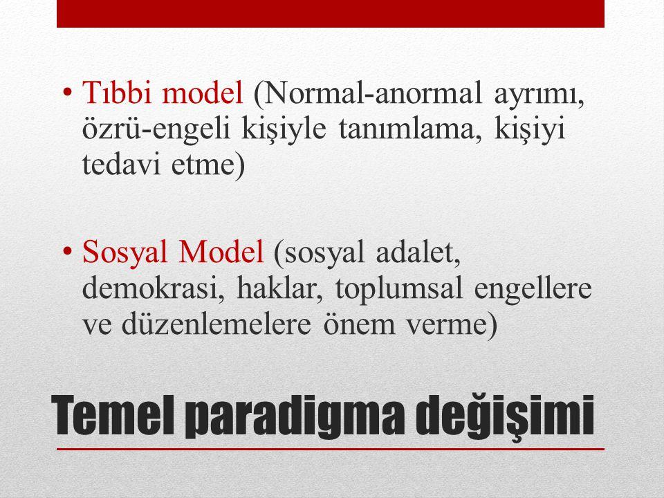 Temel paradigma değişimi Tıbbi model (Normal-anormal ayrımı, özrü-engeli kişiyle tanımlama, kişiyi tedavi etme) Sosyal Model (sosyal adalet, demokrasi