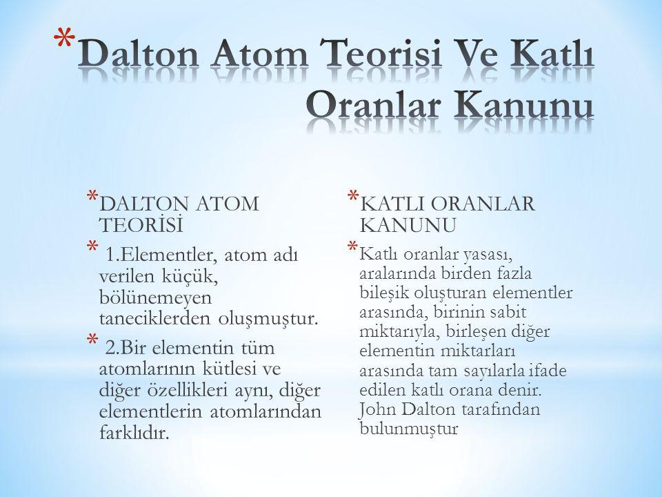 * DALTON ATOM TEORİSİ * 1.Elementler, atom adı verilen küçük, bölünemeyen taneciklerden oluşmuştur. * 2.Bir elementin tüm atomlarının kütlesi ve diğer