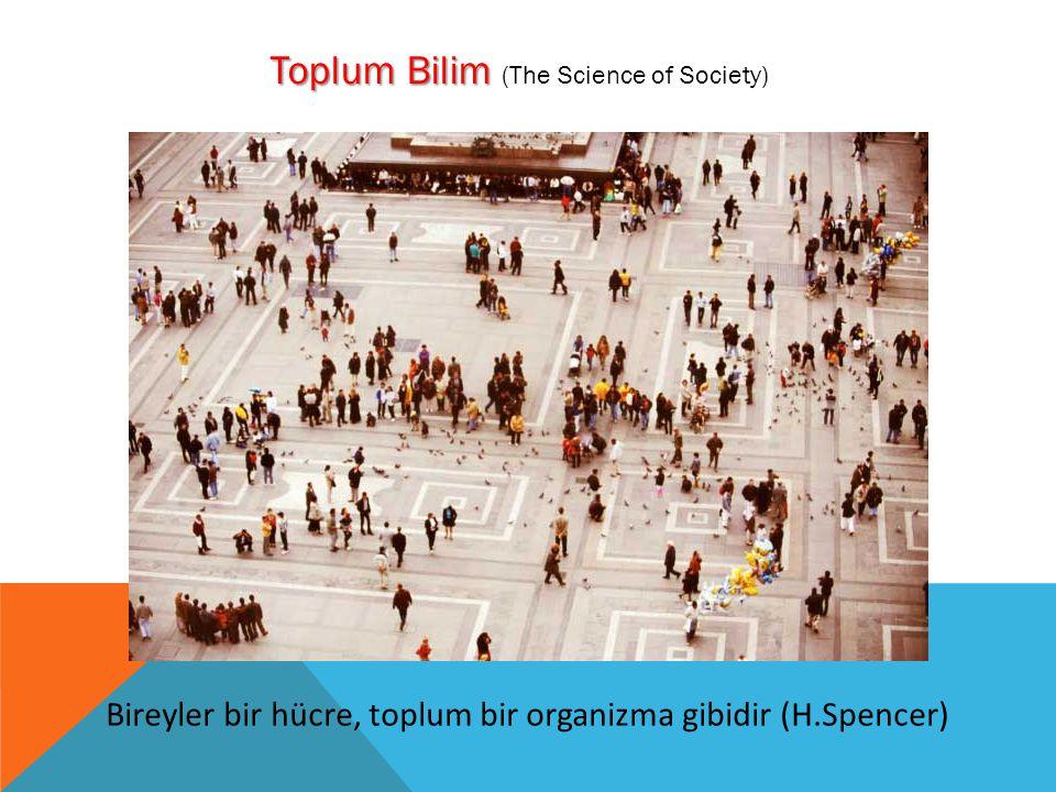 Toplum Bilim Toplum Bilim (The Science of Society) Bireyler bir hücre, toplum bir organizma gibidir (H.Spencer)