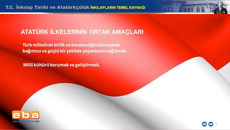 T.C. İnkılap Tarihi ve Atatürkçülük İNKILAPLARIN TEMEL KAYNAĞI 3 ATATÜRK İLKELERİNİN ORTAK AMAÇLARI Milli kültürü korumak ve geliştirmek. Türk milleti