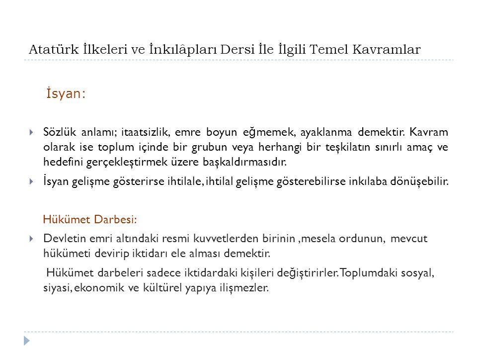 Atatürk İlkeleri ve İnkılâpları Dersi İle İlgili Temel Kavramlar İsyan:  Sözlük anlamı; itaatsizlik, emre boyun e ğ memek, ayaklanma demektir.