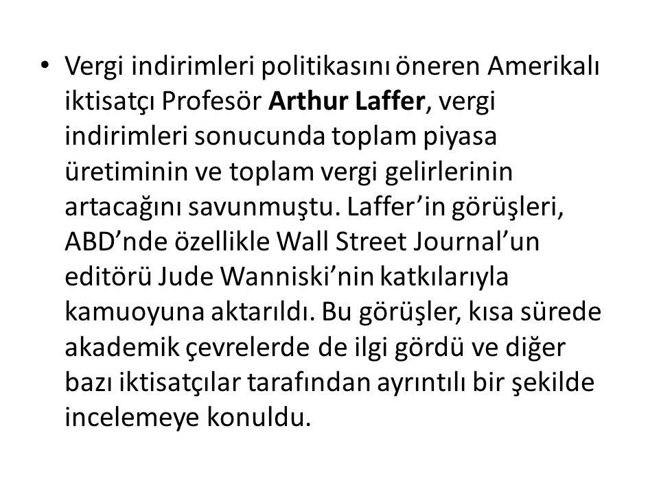 Vergi indirimleri politikasını öneren Amerikalı iktisatçı Profesör Arthur Laffer, vergi indirimleri sonucunda toplam piyasa üretiminin ve toplam vergi