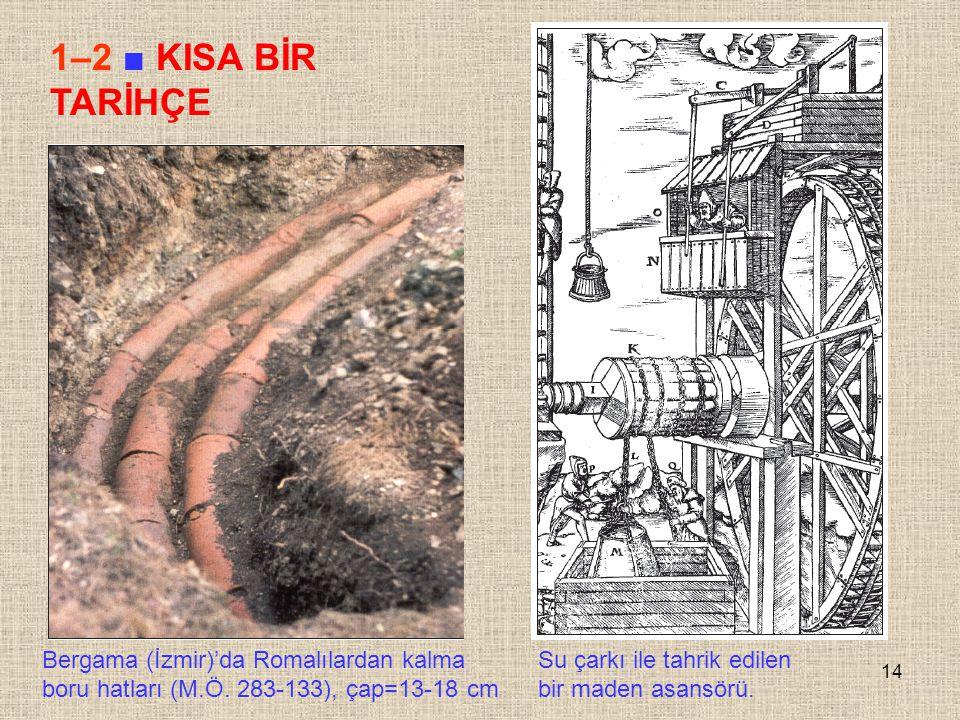 14 1–2 ■ KISA BİR TARİHÇE Bergama (İzmir)'da Romalılardan kalma boru hatları (M.Ö. 283-133), çap=13-18 cm Su çarkı ile tahrik edilen bir maden asansör
