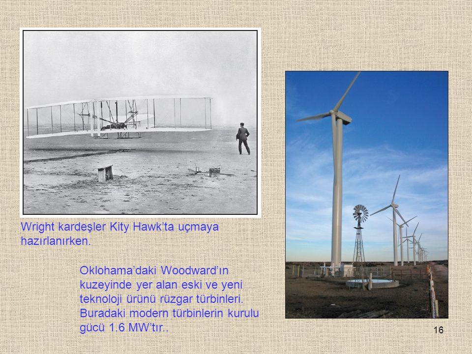 16 Wright kardeşler Kity Hawk'ta uçmaya hazırlanırken. Oklohama'daki Woodward'ın kuzeyinde yer alan eski ve yeni teknoloji ürünü rüzgar türbinleri. Bu