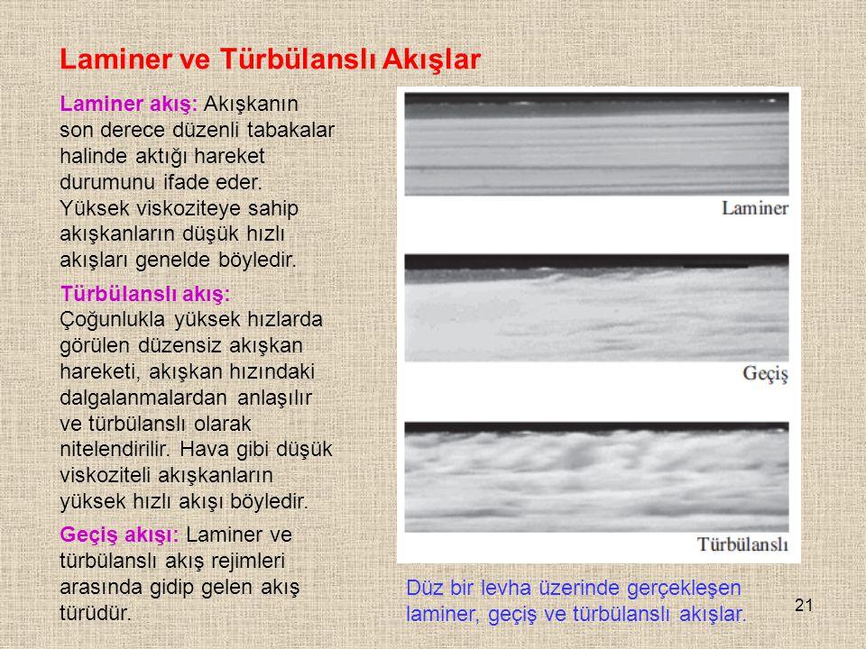 21 Laminer ve Türbülanslı Akışlar Laminer akış: Akışkanın son derece düzenli tabakalar halinde aktığı hareket durumunu ifade eder. Yüksek viskoziteye