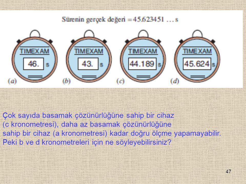 47 Çok sayıda basamak çözünürlüğüne sahip bir cihaz (c kronometresi), daha az basamak çözünürlüğüne sahip bir cihaz (a kronometresi) kadar doğru ölçme