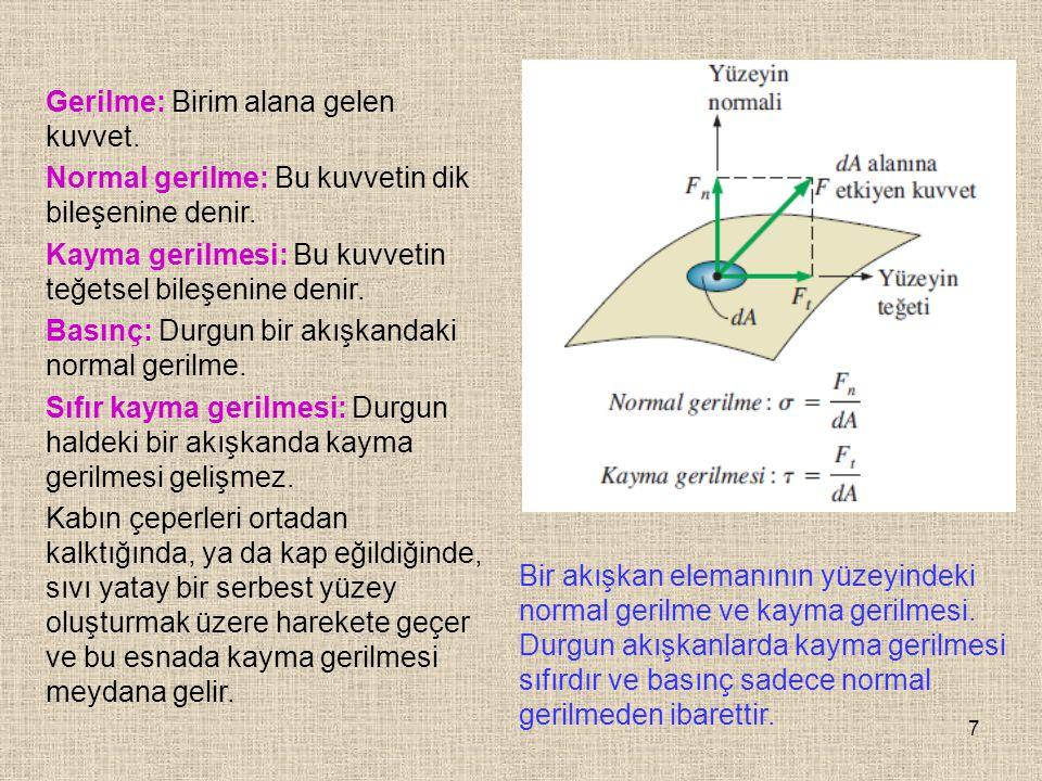 7 Gerilme: Birim alana gelen kuvvet. Normal gerilme: Bu kuvvetin dik bileşenine denir. Kayma gerilmesi: Bu kuvvetin teğetsel bileşenine denir. Basınç: