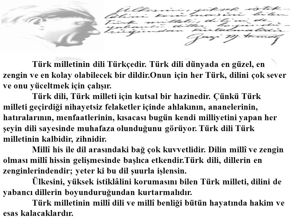 Türk milletinin dili Türkçedir.