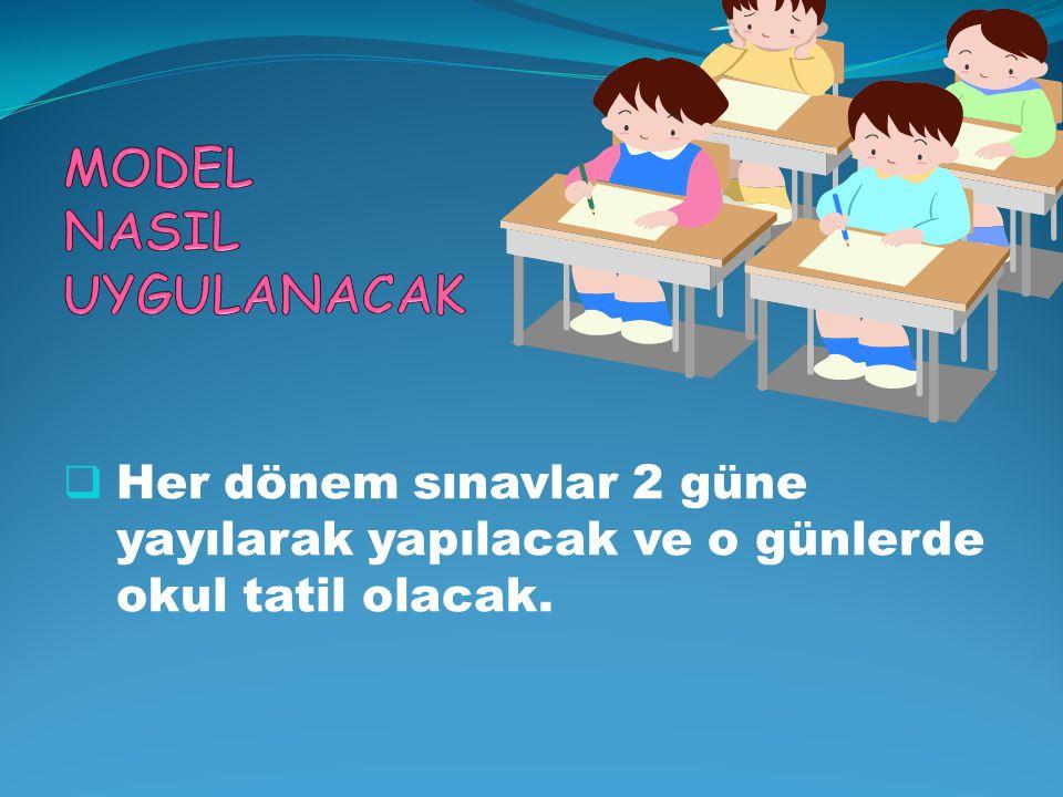  Her dönem sınavlar 2 güne yayılarak yapılacak ve o günlerde okul tatil olacak.