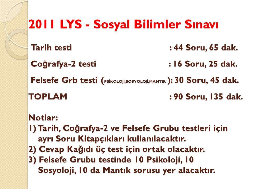2011 LYS - Sosyal Bilimler Sınavı Tarih testi : 44 Soru, 65 dak.