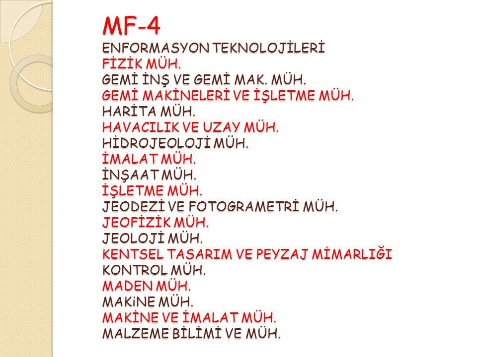 MF-4 ENFORMASYON TEKNOLOJİLERİ FİZİK MÜH. GEMİ İNŞ VE GEMİ MAK.