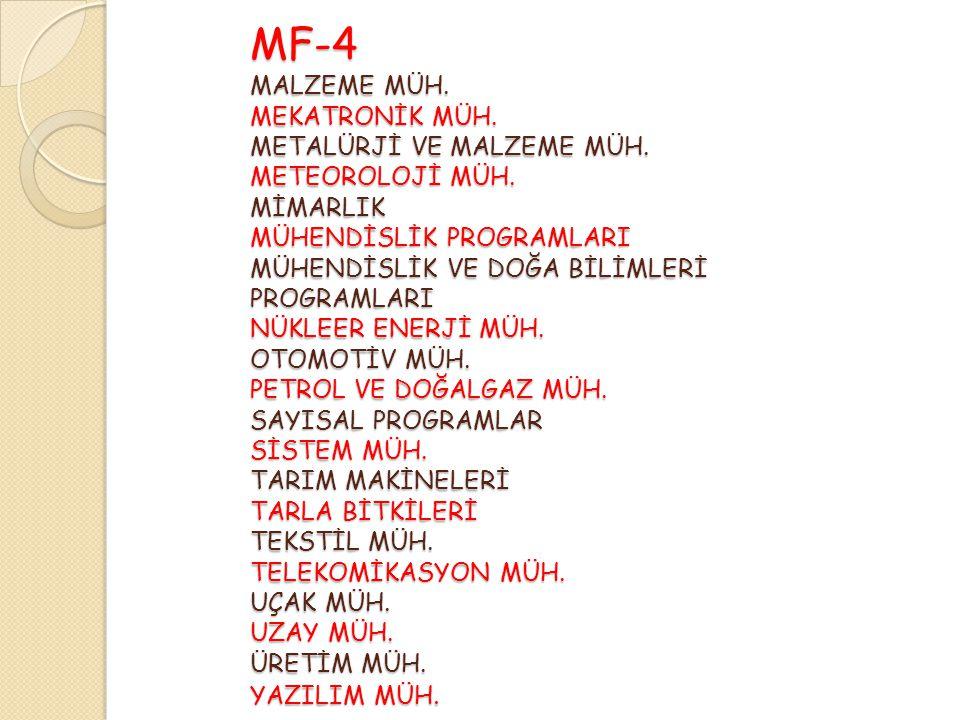 MF-4 MALZEME MÜH. MEKATRONİK MÜH. METALÜRJİ VE MALZEME MÜH.