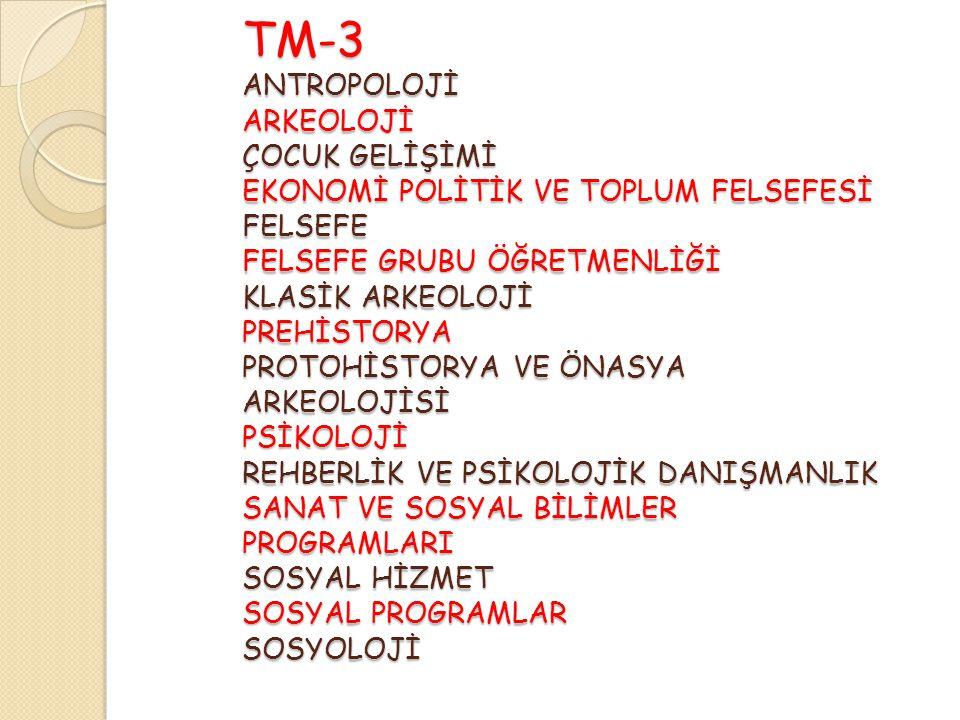 TM-3 ANTROPOLOJİ ARKEOLOJİ ÇOCUK GELİŞİMİ EKONOMİ POLİTİK VE TOPLUM FELSEFESİ FELSEFE FELSEFE GRUBU ÖĞRETMENLİĞİ KLASİK ARKEOLOJİ PREHİSTORYA PROTOHİSTORYA VE ÖNASYA ARKEOLOJİSİ PSİKOLOJİ REHBERLİK VE PSİKOLOJİK DANIŞMANLIK SANAT VE SOSYAL BİLİMLER PROGRAMLARI SOSYAL HİZMET SOSYAL PROGRAMLAR SOSYOLOJİ