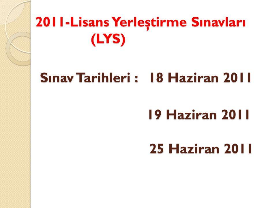 2011-Lisans Yerleştirme Sınavları (LYS) Sınav Tarihleri : 18 Haziran 2011 19 Haziran 2011 25 Haziran 2011 2011-Lisans Yerleştirme Sınavları (LYS) Sınav Tarihleri : 18 Haziran 2011 19 Haziran 2011 25 Haziran 2011