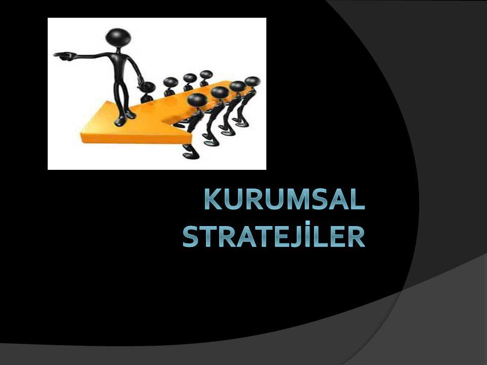Kurumsal Stratejinin Tanımı  Kurumsal strateji ile bir işletme topluluğunun tümünün  temel hedefleri ve amacları tanımlanmakta,  temel politikaları belirlenmekte ve  amaçları basarabilmk için gerekli olan planları üretilmekte,  şirketin faalıyetlerini devam ettirmesi veya son vermesi gereken işletmeleri tespit edilmektedir.