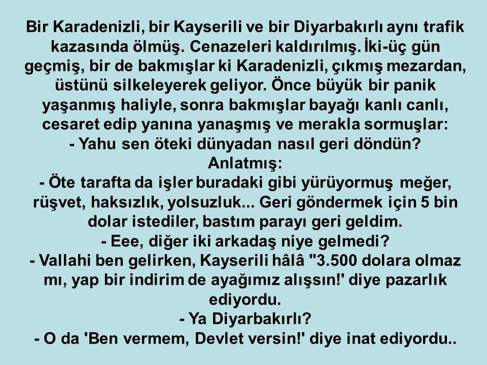 Bir Karadenizli, bir Kayserili ve bir Diyarbakırlı aynı trafik kazasında ölmüş. Cenazeleri kaldırılmış. İki-üç gün geçmiş, bir de bakmışlar ki Karaden