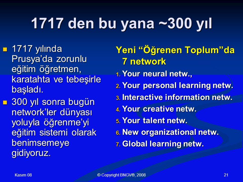 Kasım 08 © Copyright BNGV®, 200821 1717 den bu yana ~300 yıl 1717 yılında Prusya'da zorunlu eğitim öğretmen, karatahta ve tebeşirle başladı.