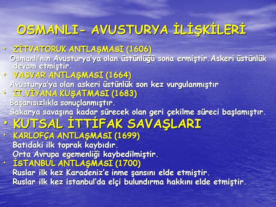 OSMANLI- AVUSTURYA İLİŞKİLERİ ZİTVATORUK ANTLAŞMASI (1606) ZİTVATORUK ANTLAŞMASI (1606) Osmanlı'nın Avusturya'ya olan üstünlüğü sona ermiştir.Askeri ü