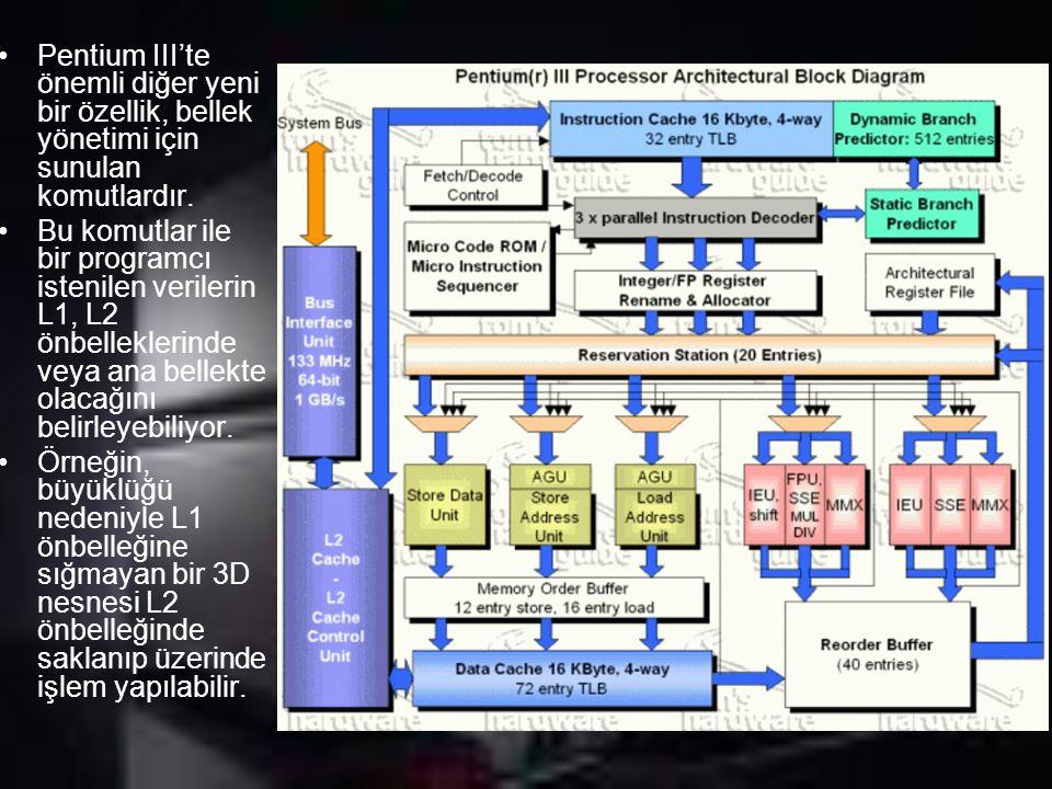 Pentium III'te önemli diğer yeni bir özellik, bellek yönetimi için sunulan komutlardır. Bu komutlar ile bir programcı istenilen verilerin L1, L2 önbel