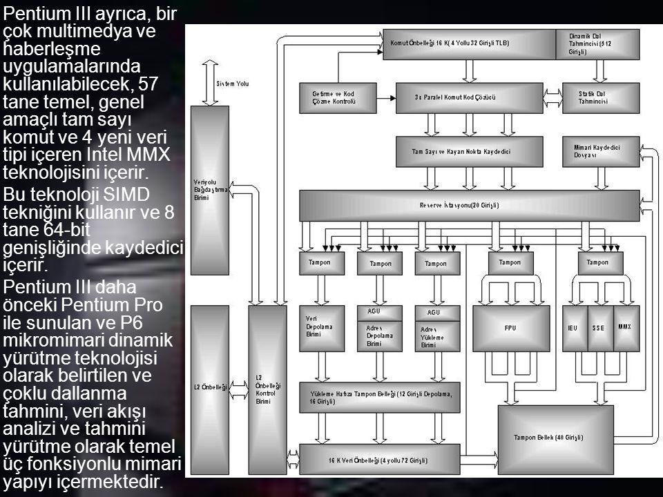 Pentium III ayrıca, bir çok multimedya ve haberleşme uygulamalarında kullanılabilecek, 57 tane temel, genel amaçlı tam sayı komut ve 4 yeni veri tipi