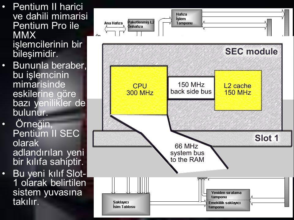 Pentium II harici ve dahili mimarisi Pentium Pro ile MMX işlemcilerinin bir bileşimidir. Bununla beraber, bu işlemcinin mimarisinde eskilerine göre ba
