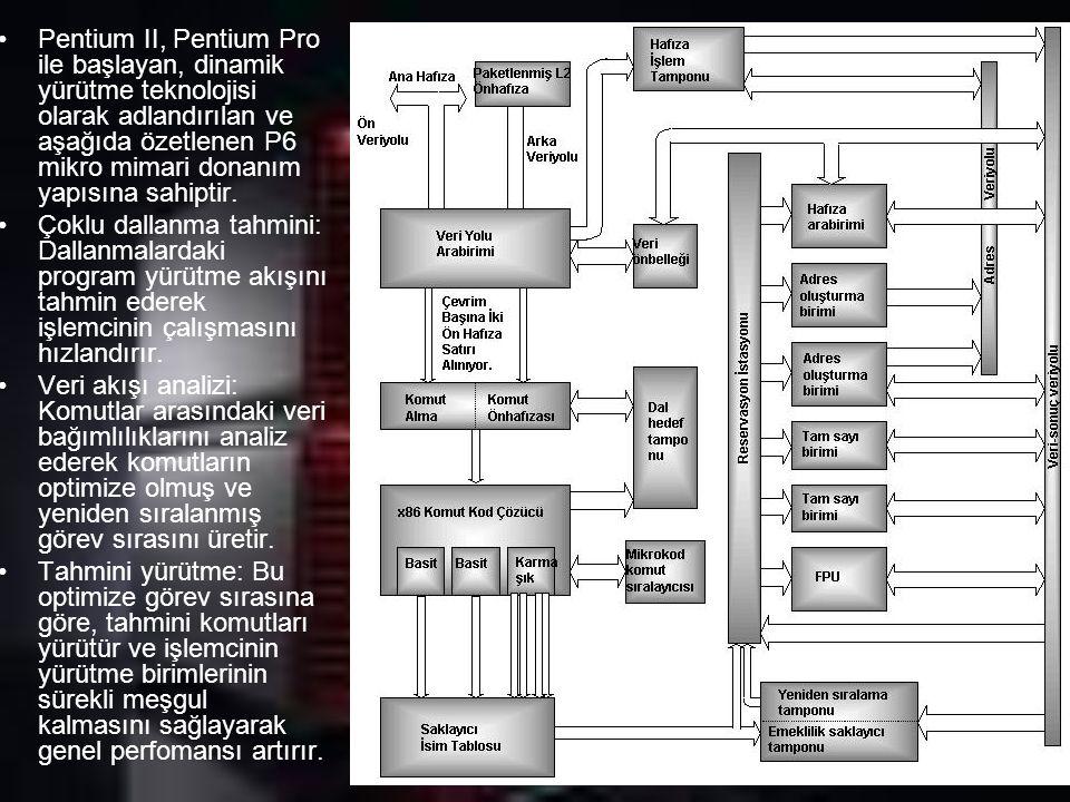 Pentium II, Pentium Pro ile başlayan, dinamik yürütme teknolojisi olarak adlandırılan ve aşağıda özetlenen P6 mikro mimari donanım yapısına sahiptir.