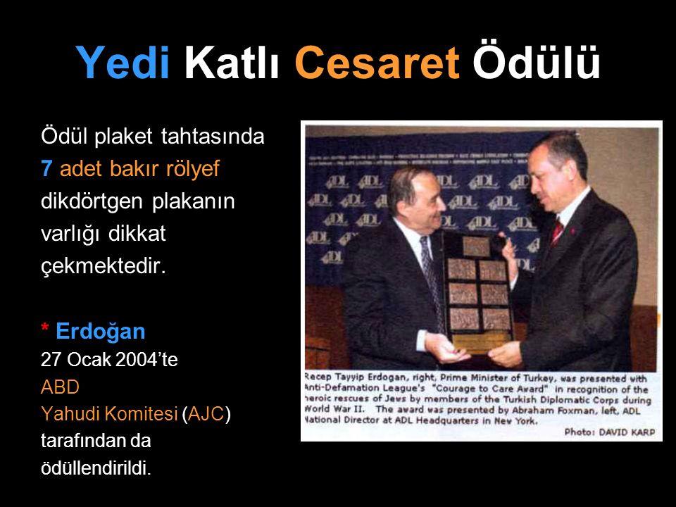Yedi Katlı Cesaret Ödülü Ödül plaket tahtasında 7 adet bakır rölyef dikdörtgen plakanın varlığı dikkat çekmektedir. * Erdoğan 27 Ocak 2004'te ABD Yahu