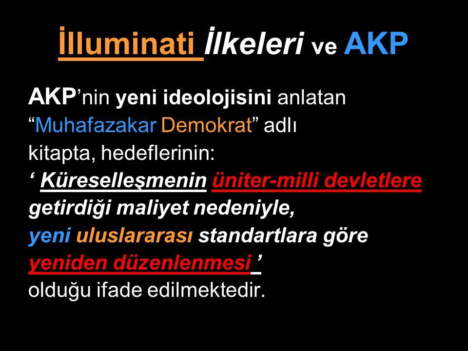 """İlluminati İlkeleri ve AKP AKP 'nin yeni ideolojisini anlatan """"Muhafazakar Demokrat"""" adlı kitapta, hedeflerinin: ' Küreselleşmenin üniter-milli devlet"""