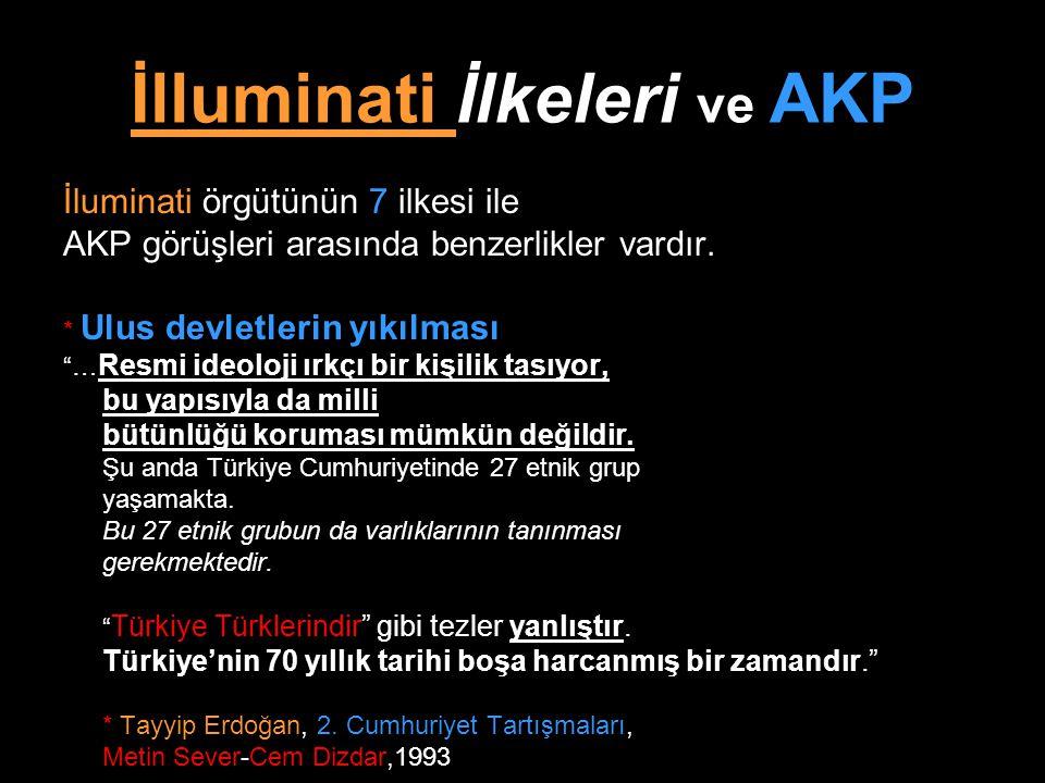 """İlluminati İlkeleri ve AKP İluminati örgütünün 7 ilkesi ile AKP görüşleri arasında benzerlikler vardır. * Ulus devletlerin yıkılması """"… Resmi ideoloji"""