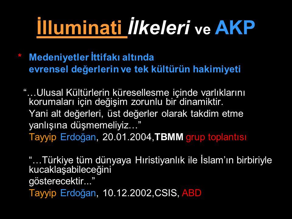 """İlluminati İlkeleri ve AKP *Medeniyetler İttifakı altında evrensel değerlerin ve tek kültürün hakimiyeti """"…Ulusal Kültürlerin küresellesme içinde varl"""