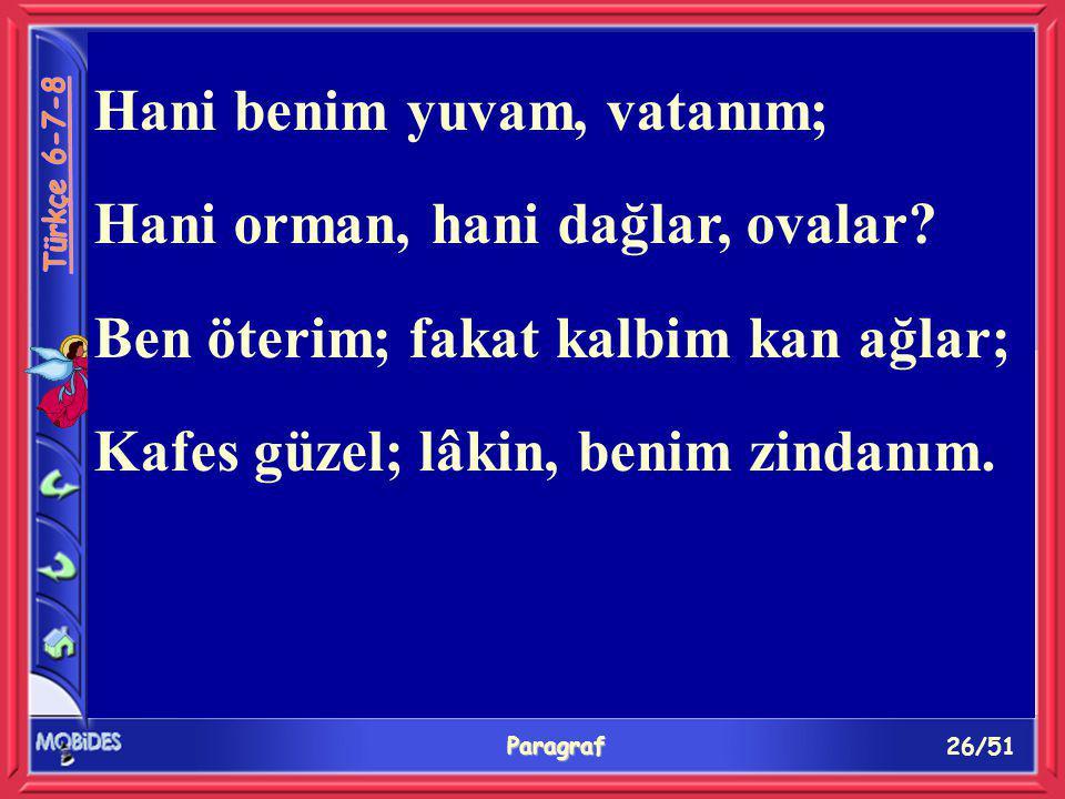 26/51 Paragraf Hani benim yuvam, vatanım; Hani orman, hani dağlar, ovalar.